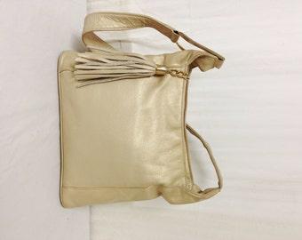 Gold leather purse,bag,Pearlized gold,Leather Purse, Soft leather, Shoulder Bag ,Tassel