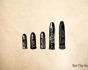 Bullet Cartidges Rubber Stamp - 2 x 2 inches