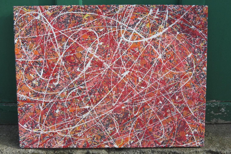 Lava Rock 24 x 18 sin marco color abstracto acción pintura