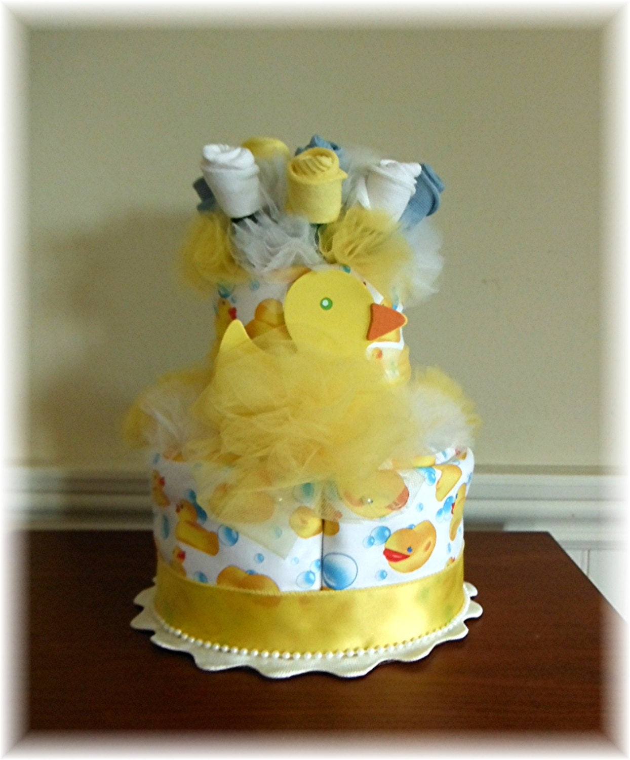 Rubber Ducky 2 Tier Baby Sock Bouquet Burp by JustBabyBoutique