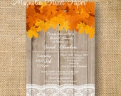 Autumn Bridal Shower Invitation, Maple Leaf Custom Printable Bridal Invite, Fall Leaves DIY Bridal Invitation, Rustic Bridal Shower