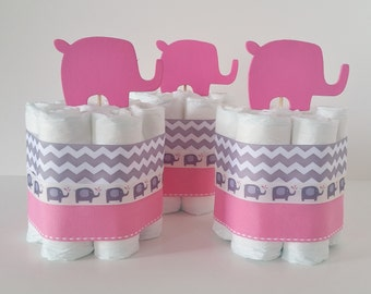 Elephant Diaper Cake Centerpieces, Pink and Gray Mini Diaper Cakes, Baby Girl Shower Decorations, Elephant Table Centerpieces, It's A Girl
