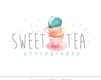 CLEARANCE - Watercolor Logo - Tea Cup Watermark Business Logo - Children, Wedding, Simple, Kid, Newborn, vintage, pastel, sweet, Photography