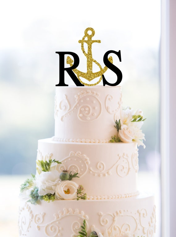 Monogram Wedding Cake Topper – Custom 2 Initials Topper with Anchor Available in 15 Colors, 12 Fonts and 18 Glitter Options - (S076)
