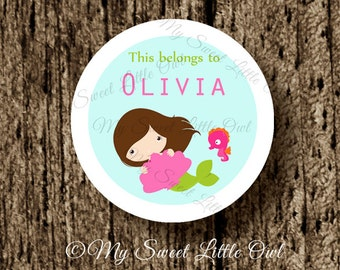 School label - mermaid name label - name tag sticker - back to school label - mermaid school label - book label - this belongs to label