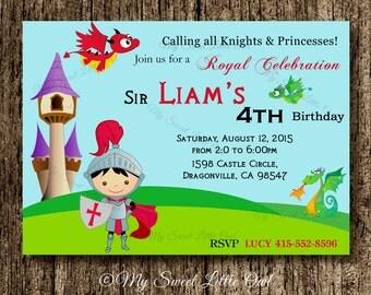 Knight invitation - knight birthday invitation - knight printable - knight invite - dragon invitation - knight and dragon invitation