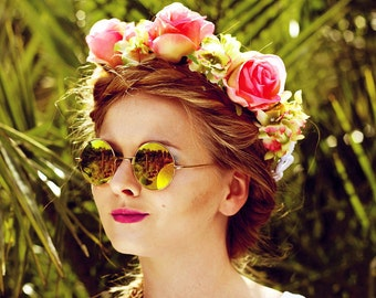 Big Flower Crown Niala with pink Roses Festival Hippie Boho Style Crown