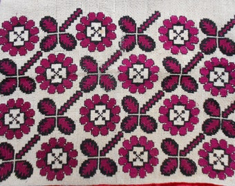 Vintage 50s Hungarian Embroidered Pillow Coverlet