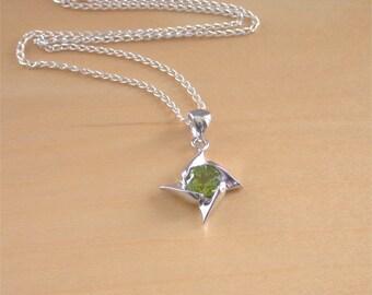 """925 Peridot Star Pendant & 18"""" Chain/Peridot Necklace/Peridot Jewellery/Peridot Jewelry/August Birthstone/Peridot Jewelery/Gemstone Necklace"""