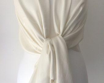 Cream Ivory Pashmina , Scarf Wrap Shawl, Large Scarf ,Bridesmaids Wrap