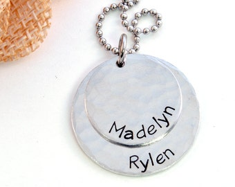 Personalized Necklace, Layered Name Necklace, Mommy Necklace, Layered Brag Necklace, Handstamped Aluminum Necklace