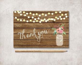 Rustic Thank You Card Printable, Wedding Thank you Card, Shower Thank you Card, Printable Thank you Notes, Mason Jar Thank You Card