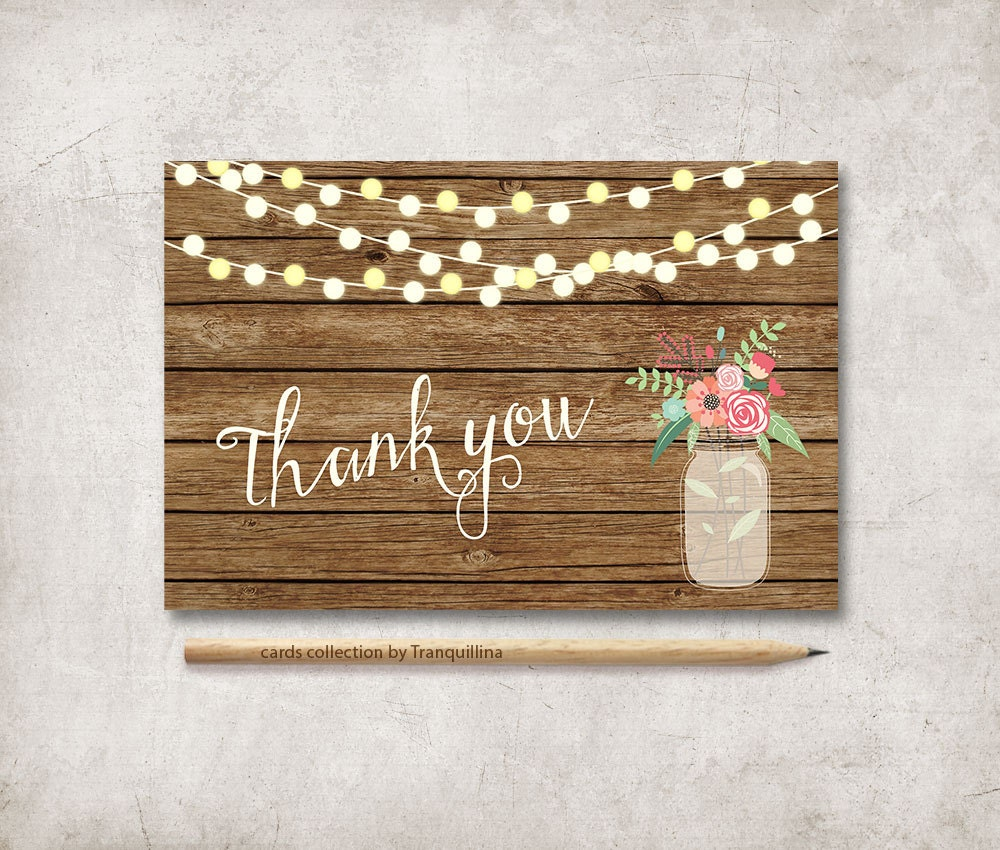 Rustic Thank You Card Printable Wedding on Wedding Thank You Cards Etsy