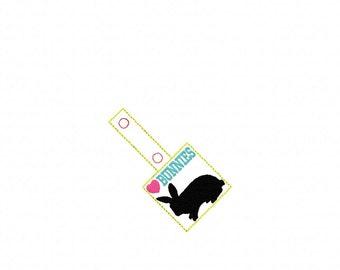 BUNNY - RABBIT - Bunnies -  In The Hoop - Snap/Rivet Key Fob - DIGITAL Embroidery Design