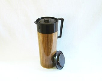 Vintage Aladdin Beverage Butler Thermos Pitcher Insulated Camping Pitcher Pitcher Wood Grain Thermos Aladdin Thermos 1970's Pitcher