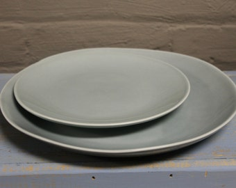 Organic Line Portuguese Dinnerware / Serveware in Rainfall Ceramic Dinner Plate