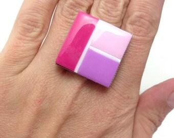 Statement Square Ring, Statement Pink Ring, Boho Pink Ring, Boho Cocktail Ring, Unique Pink Ring, Summer Pink Ring, Appreciation Gift