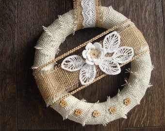 Eco Romantic Wreath, Eco Home Decor, Wedding  Wreath, Countryside Wreath, Shabby Chic Wreath, Vintage Wreath, Eco Wreath