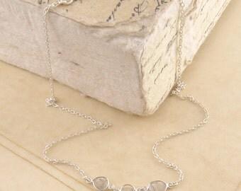 Diamond Necklace, 925 Silver Necklace, Silver Diamond Necklace, Diamond Slice Necklace, Rough Diamond Necklace, Organic Diamond Necklace
