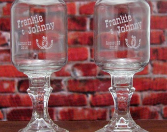 Horseshoe REDNECK WINE GLASSES  - Personalized -  Hillbilly Wine Glasses - Wedding -Anniversary - Mason Jar