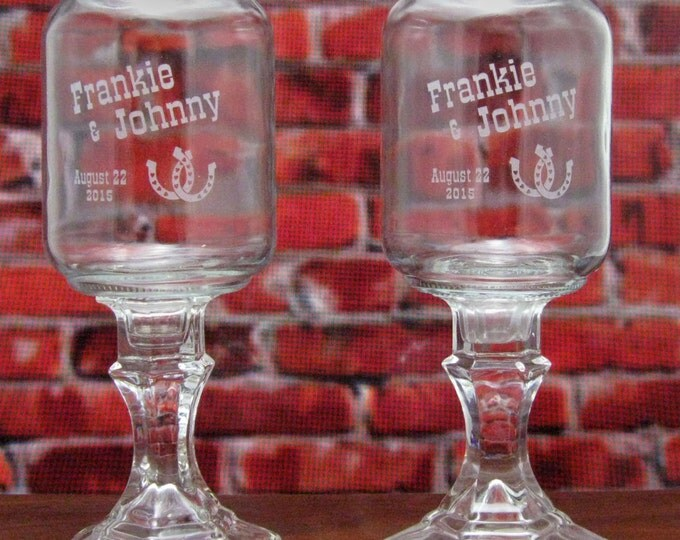 NokNoks Horseshoe REDNECK WINE GLASSES  - Personalized -  Hillbilly Wine Glasses - Wedding -Anniversary - Mason Jar