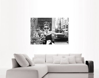 Audrey Hepburn Breakfast at Tiffany's portrait top quality heavy paper poster print or canvas (up to A0 size) gift for classic movie lovers