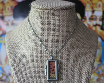 Small Glass Window Locket With Painted Lady Butterfly Wing