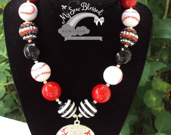 Chunky Bubblegum Bead Necklace / Baseball Inspired