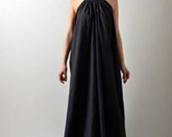 Black Kaftan Dress / Gown Long Dress / Prom Floor Length Dress / Halter Evening Black Linen Dress / Antique Dress / Sexy Dress / Long Dress