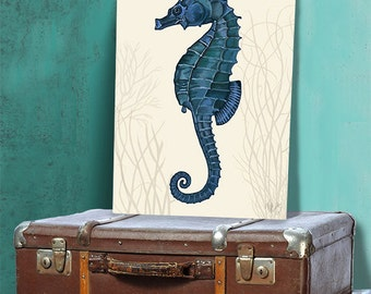 Seahorse wall art Dark Blue on cream 2, seahorse décor Seahorse wall decor Seahorse print sea life poster Nautical Art Nautical Poster beach