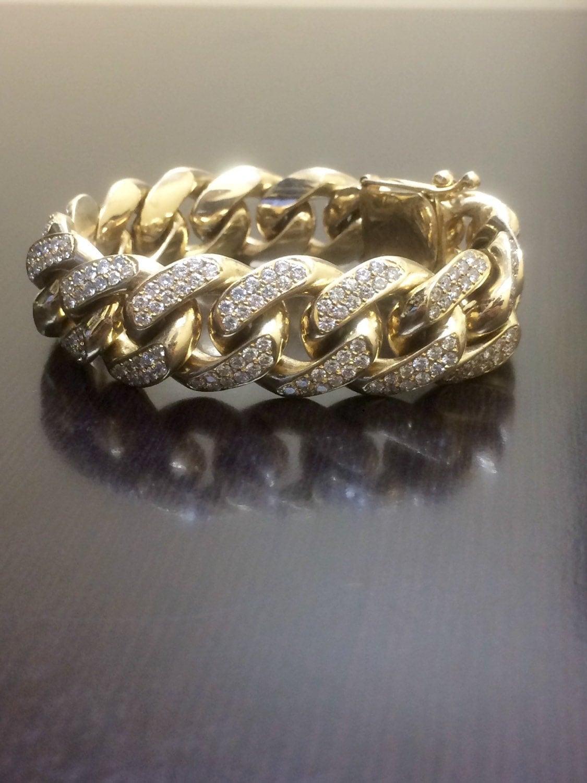 14K Yellow Gold Cuban Link Diamond Bracelet 14K Diamond