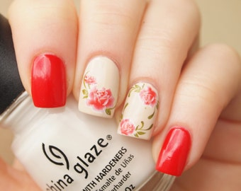 1 sheet of red rose nail art water decals/ 20pcs floral nail stickers/ Rose nail decals/ Floral nail decoration/ Nail stickers/ art. ble035