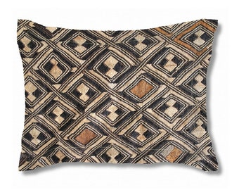 Exclusive Kuba Cloth Design #1 / Standard Size Pillow Sham 30x20 / Brushed Polyester Fabric / Stylish Unique African Art Pattern