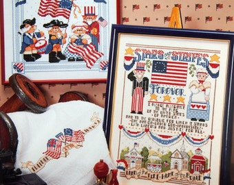 It's A Grand OId Flag In Cross Stitch By Linda Gillum Vintage Cross Stitch Pattern Booklet 1990