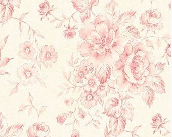 Wallpaper Vintage Inspired Floral Trail Pink Green Pale