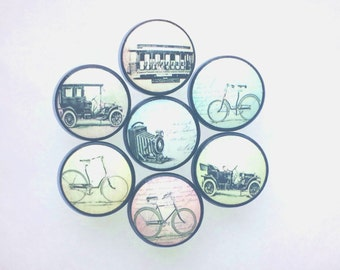 Vintage Transportation Ephemera Drawer Pulls - Bicycle, Car, Camera, Train, Travel, Typography, Pastel - Cabinet, Dresser Knob - 215D1