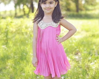 Hot Pink Pleated Chiffon Dress - Flower Girl Dress