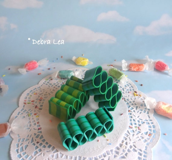 Ribbon Candy Fake Green Realistic Handmade Holiday Christmas Faux Hand Painted   RB2