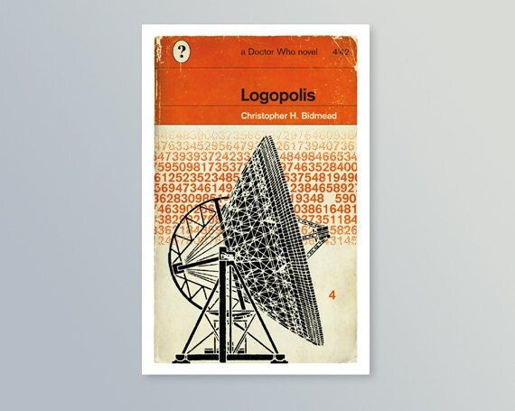 Penguin Book Cover Postcards ~ Doctor who logopolis penguin style book cover postcard