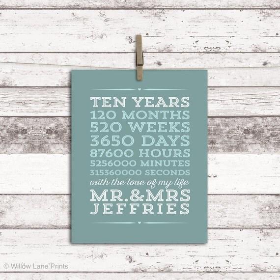 10 Year Anniversary Gift 10th Wedding By Willowlaneprints