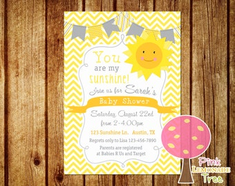 You Are My Sunshine Baby Shower Invitation, Yellow Chevron, Yellow and Gray, Customized Invite