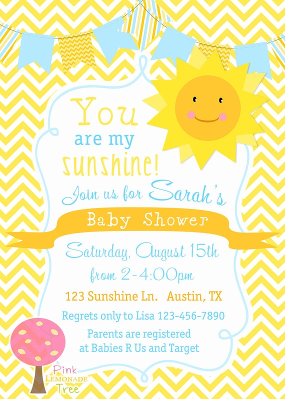 you are my sunshine baby shower invitation yellow chevron yellow and