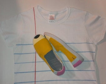 Buy both and save 5.00! Ladies No. 2 Pencil Shoes & Notebook Paper Graphic© Shirt! Unique Gift for Students and Teachers