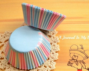 Light Baby Blue, Pink and White Stripe Cupcake Liners (50)
