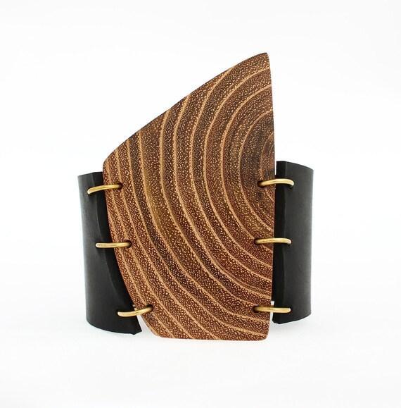Leather statement cuff bracelet - wooden cuff bracelet - unisex cuff bracelet