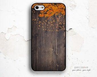 iPhone 6 Case Orange Leaves - iPhone 5s Cover Dark Wood Print, iPhone 6 Plus Case Fall, iPhone 5C Case, Autumn iPhone 6 Case :1004