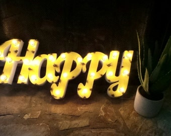 Light Up Letters Metal Marquee Happy Sign *ON SALE*