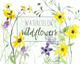 Wildflowers clip art   Etsy