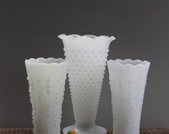 Anchor Hocking Vintage Milk Glass Vase Set