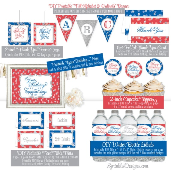 4th of july birthday decorations printable party pack 1st 2nd 3rd